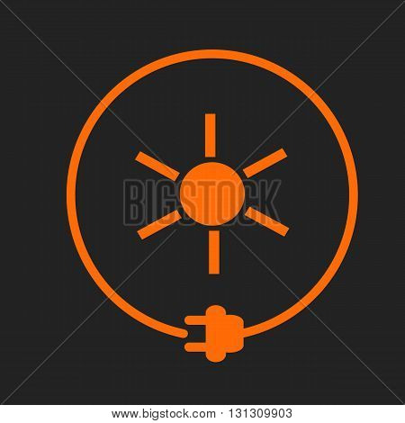 Sun in a circle with plug as symbol of eco-friendly energy source. Orange sign on black background