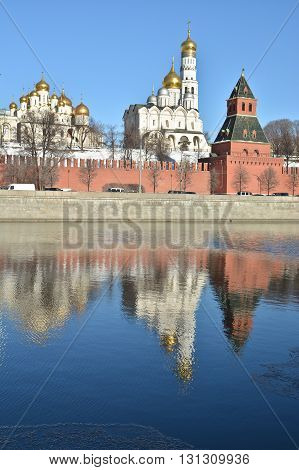 The Kremlin cathedrals and the Ivan the Great bell tower. Moscow Kremlin clear December day.