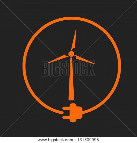 Windmill in a circle with plug as symbol of eco-friendly energy source. Orange sign on black background