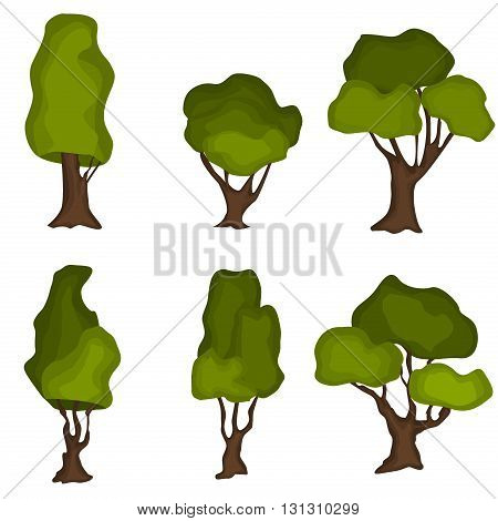 Set of abstract stylized trees. Natural trees vector illustration. Cartoon trees green nature and summer forest green trees collection. Trees leaf green plants and ecology forest oak trees eco branch.