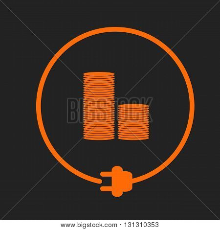 Save money for electricity. Stack of coins in the circle with plug. Orange sign on black background