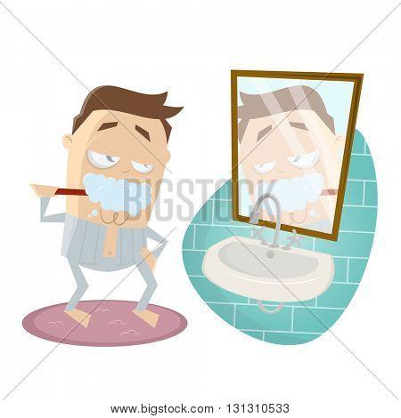 funny cartoon man brushing his teeth