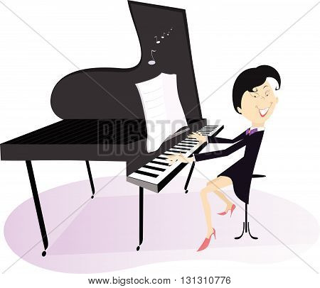 Pianist woman. Smiling pianist is playing music
