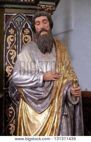 SVETI MARTIN POD OKICEM, CROATIA - SEPTEMBER 16: Statue of Apostle saint Paul on the altar of the Virgin Mary in the church of Saint Martin in Sv. Martin pod Okicem, Croatia on September 16, 2015.