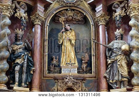KOTARI, CROATIA - SEPTEMBER 16: Main altar in the church Leonard of Noblac in Kotari, Croatia on September 16, 2015.