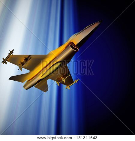 Fighter jet flying against a blue sky, 3d illustration