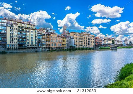 Coastline cityscape of Florence in Italy during sunny day in spring time.