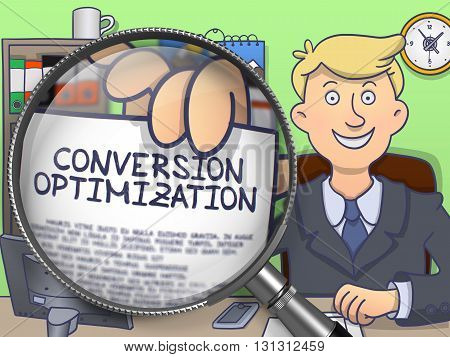 Businessman in Suit Looking at Camera and Holding a Paper with Conversion Optimization Concept through Lens. Closeup View. Colored Modern Line Illustration in Doodle Style.