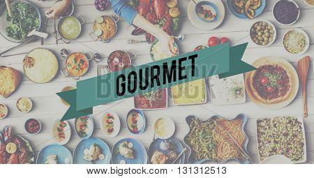 Gourmet Food Eating Party Celebration Concept