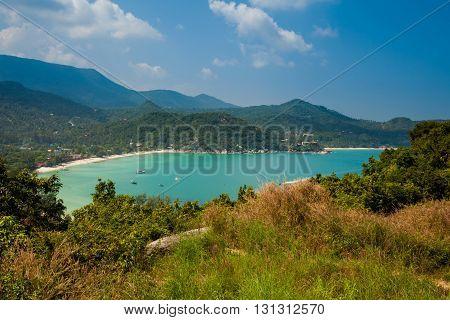 Summer seascape on tropical island Koh Phangan in Thailand. Thong Nai Pan Yai Beach.