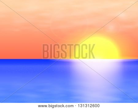 Vector illustration of a background seascape, Sea Landscape. Beautiful sunset in the calm of the sea, the ocean.