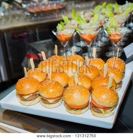 Pork burgers mini in party at hotel.