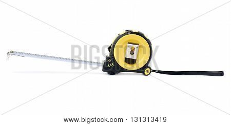 Opened Working construction Measuring tape over isolated white background