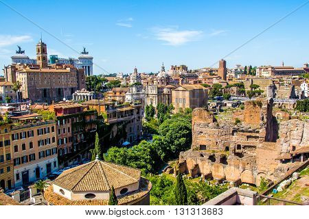 Cityscape of Rome view on the Roman Forum and the Vittoriano; Italy