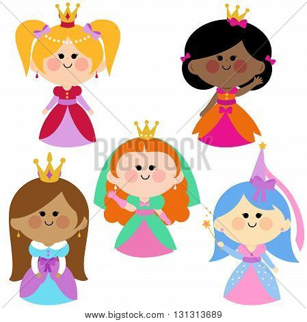 A happy group of children royal fairy princesses vector set