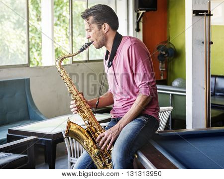 Jazz man Musical Artist Playing Saxophone Concept