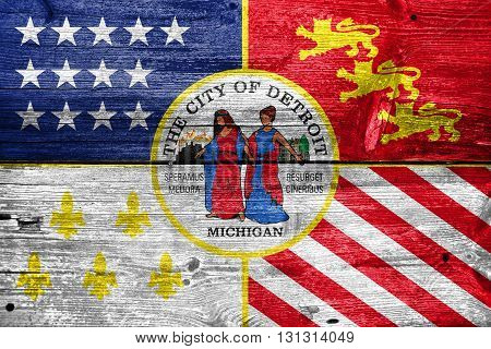 Flag Of Detroit, Michigan, Painted On Old Wood Plank Background