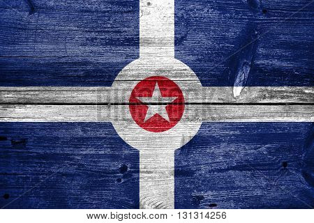 Flag Of Indianapolis, Indiana, Painted On Old Wood Plank Backgro