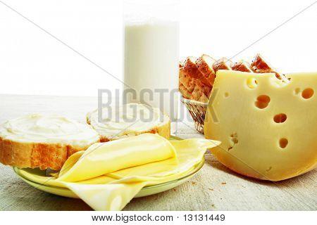 Dairy produce foodstuffs. Shot in a studio.