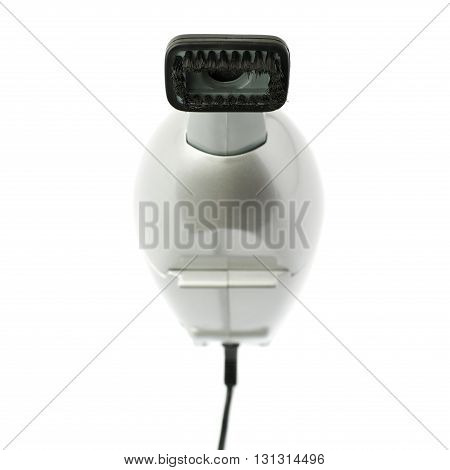 Gray Hand held small vacuum cleaner isolated over the white background