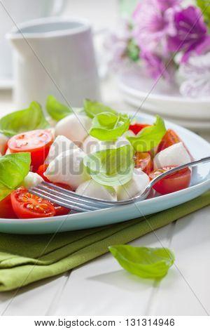 Tomato and mozzarella salad with fersh basil