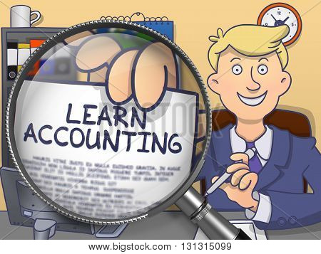 Officeman in Suit Looking at Camera and Shows Text on Paper Learn Accounting through Lens. Closeup View. Multicolor Doodle Illustration.