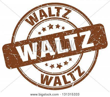 Waltz Brown Grunge Round Vintage Rubber Stamp.waltz Stamp.waltz Round Stamp.waltz Grunge Stamp.waltz