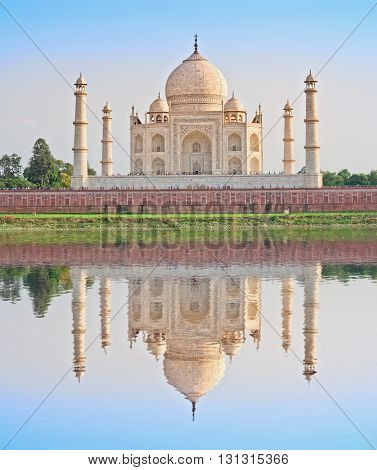 Taj Mahal in Agra with reflection in water India