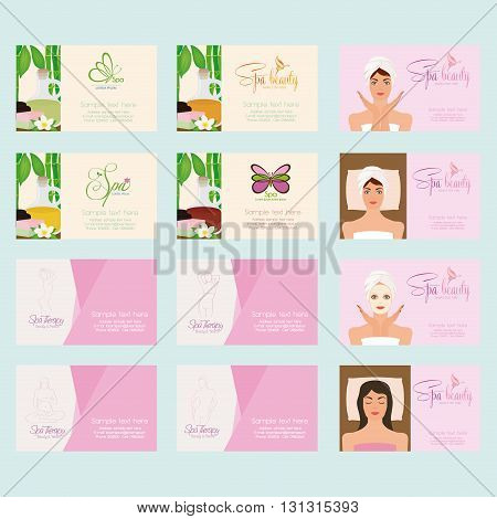 Set of different spa business cards on a colored background