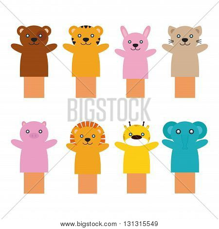 Set of different toy puppets on a white background