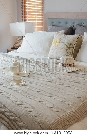 Classic Bedroom Style With Cup Of Coffee On Tray