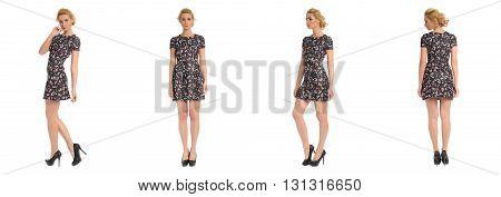 Full Length Portrait Of Beautiful Teen In Dress