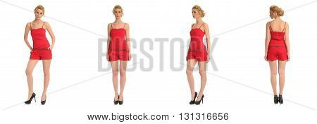 Full Length Portrait Of Beautiful Teen In Overalls