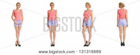 Full Length Portrait Of Beautiful Teen In Shorts