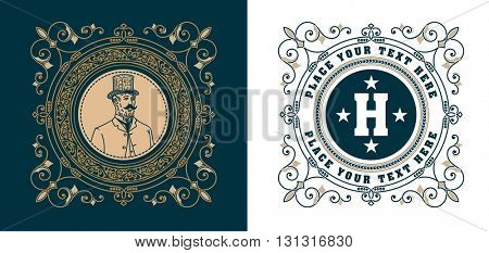 vintage logo template, Hotel, Restaurant, Business or Boutique Identity. Design with Flourishes Elegant Design Elements. Royalty, Heraldic style .Vector Illustration