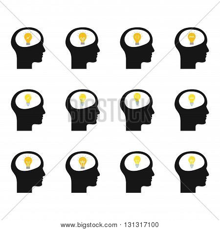 Set of heads with different lightbulbs on a white background