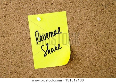 Revenue Share Written On Yellow Paper Note
