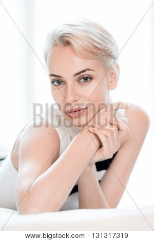 portrait of the blonde with short hair