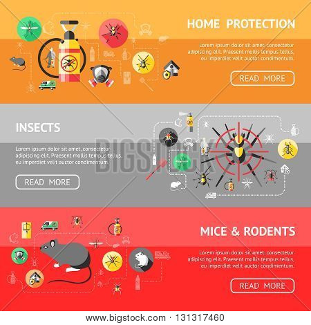Pest control horizontal banners set with home protection ant mosquito spider insecticide rodents trap isolated vector illustration