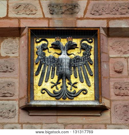 Coat of arms with two-headed eagle in Nuremberg, Germany