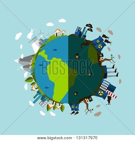 Environmental Pollution Poster with description of planet is divided into two parts contaminated with harmful enterprises and pure green vector illustration