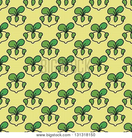 Seamless pattern kohlrabi cabbage on a light yellow background.