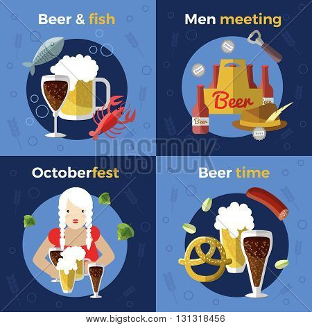 Four square beer icon set of beer and fish men meeting Octoberfest and beer time themes vector illustration