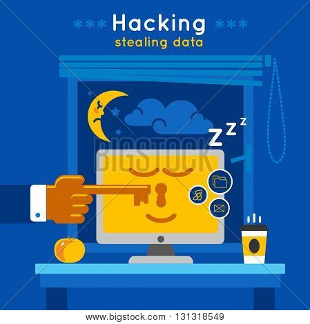 Data protection poster with description of protected computer in a sleepy mode and title hacking stealing data vector illustration