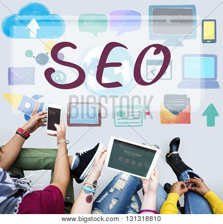 SEO Searching Digital Marketing Network Concept