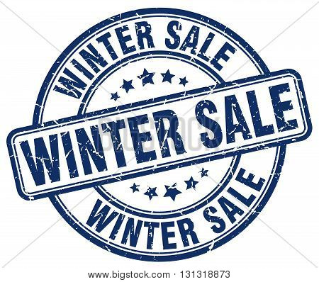Winter Sale Blue Grunge Round Vintage Rubber Stamp.winter Sale Stamp.winter Sale Round Stamp.winter