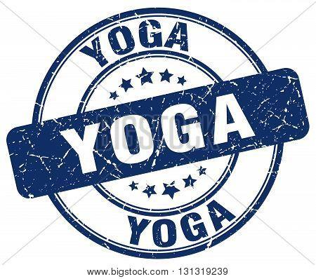 Yoga Blue Grunge Round Vintage Rubber Stamp.yoga Stamp.yoga Round Stamp.yoga Grunge Stamp.yoga.yoga