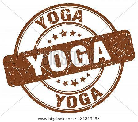 Yoga Brown Grunge Round Vintage Rubber Stamp.yoga Stamp.yoga Round Stamp.yoga Grunge Stamp.yoga.yoga