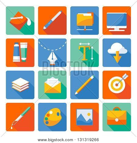 Web design flat icon set necessary things for designer and creative person his stuff in the workplace vector illustration