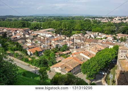 View of lower city of Carcassonne Languedoc-Roussillon France